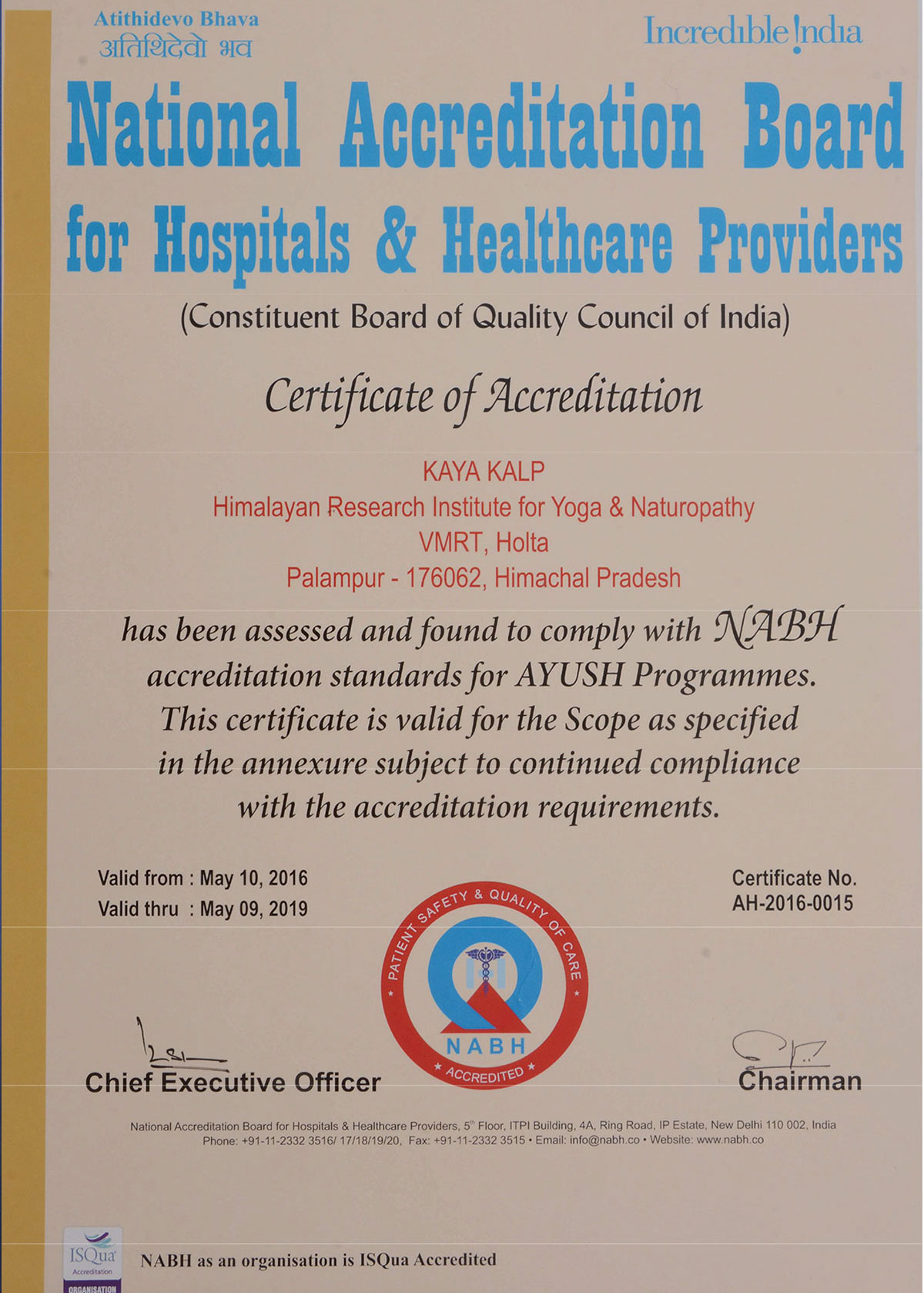 India's 1st NABH Accredited Yoga-Naturopathy Hospital and Himachal Pradesh's 1st and only AYUSH Accredited Hospital by NABH